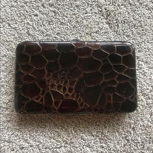 Brown Snap Closure Clutch Wallet